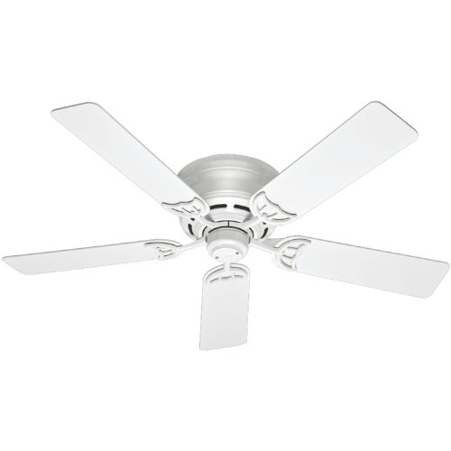 Hunter Indoor Low Profile III Ceiling Fan, with pull chain control -  52 inch, White, 53069 ()