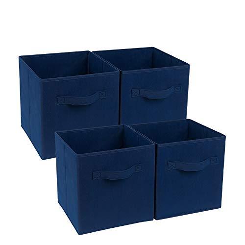 4-Cube Heavy Duty Storage Container, Zonyon Foldable Fabric Storage Cube,Basket,Bookshelf Organizer,Nursery Hamper with Handle for Women,Men,Kids,Toys,Bedroom,Closet,Office,11''X11''11'',Navy Blue (Blue Bookshelf Navy)