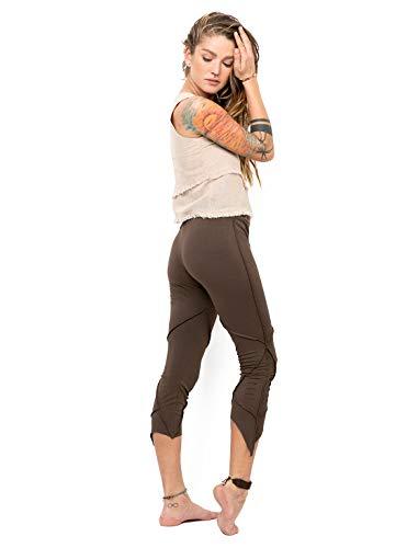 Street Habit Women's Pixie Leggings Brown Organic Cotton Pointy Capri Pants Slash Detail -