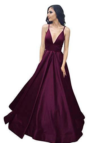 VinBridal Long Spaghetti Straps Satin Ball Gown Prom Dresses with Pockets Plum 8