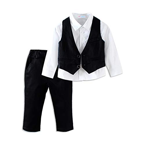 Mud Kingdom Toddler Boys Black Dress Pants and Vest with White Shirt 2T ()