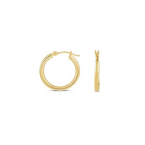 14K Gold Hoop Earrings, 14K Yellow Gold 2MM 3MM Round Hoop Hinged Earrings,Gold Tube Hoop Earring