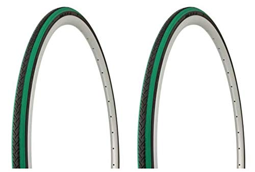 Lowrider Tire Set. 2 Tires. Two Tires Duro 700 x 25c Black Green Shoulder/Black Center HF-187. Bicycle Tires, Bike Tires, Track Bike Tires, Fixie Bike Tires