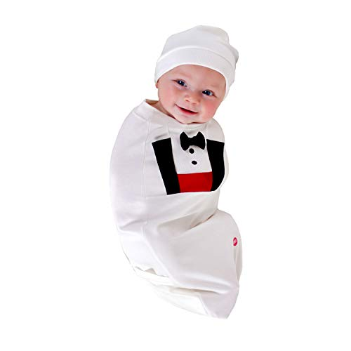 (Cozy Cocoon Baby Cocoon Swaddle and Matching Hat, Tuxedo, 0-3 Months - Made in USA)
