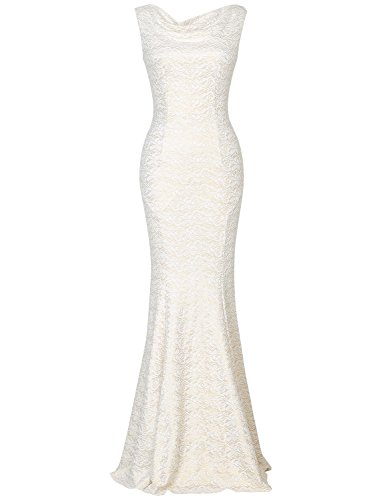 MUXXN Ladies Elegant Sleeveless Long Vintage Juniors Wedding Ball Gown Dress (White Lace M)