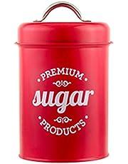 KunmniZ Röd smidesjärn te burk godis socker skål burk kaffe behållare fodral hem tank utrymme spara heminredning förvaring hantering tillbehör