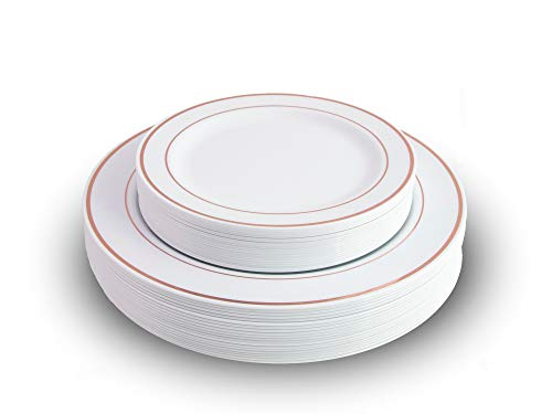Exquisite Reflective Plastic Plates-60 Peices Premium Heavyweight Plastic Dinnerware (30-10.25