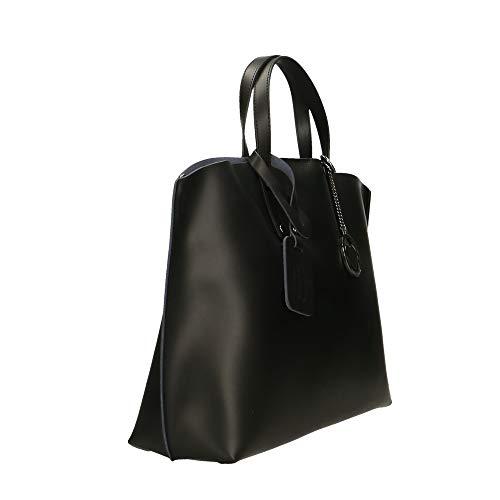 Sac cuir Borse main Chicca Noir véritable 47x30x14 à Made en in cm Italy 5pFqwnA1q