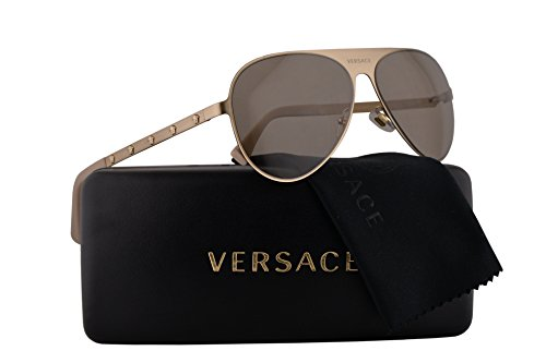 Price comparison product image Versace VE2189 Sunglasses Brushed Pale Gold w / Light Brown Lens 59mm 13393 VE 2189