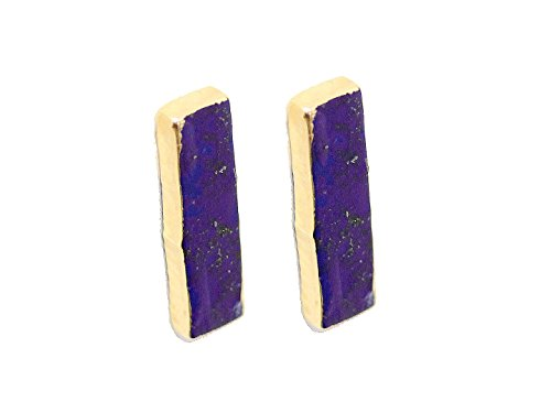 SONIA HOU Candy Bar Earrings, Gemstone Bar Earstud Earrings Electroplated in 24K Gold - Birthday, Wedding, Anniversary, Engagement, Bridal Party Gifts (Denim Lapis Lazuli)