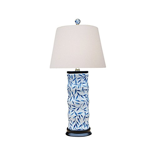 Blue and White Bamboo Floral Bamboo Style Porcelain Vase Table Lamp - Table Bamboo Lamp Porcelain
