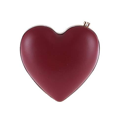 Mariage Forme PU de Femmes Rouge Rouge des soirée PU de Ofgcfbvxd Couleur Une de Coeur Sacs de de Dames de soirée Nuit avec Sac Sac Belle chaîne Mini qEdwx1