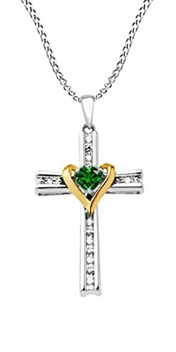 Jewel Zone US Simulated Green Emerald & Natural Diamond Cross & Heart Two Tone Pendant Necklace in Sterling Silver
