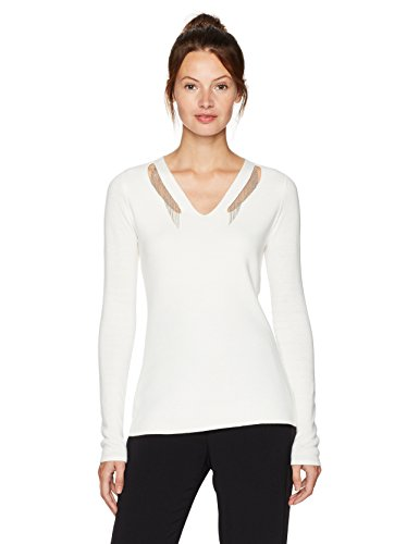 T Tahari Women's Embellished Micky Sweater, Antique, L
