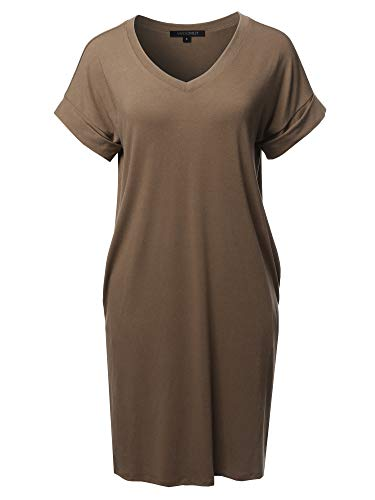 (Awesome21 Solid Short Sleeve Stretchy Loose fit V-Neck Tunic Dress Mocha Size M)