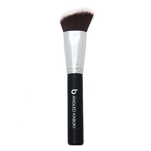 (Beauty Junkees Professional Makeup Brushes: Synthetic Bristle Angled Kabuki Foundation Brush for Blending, Stippling, Buffing - Full Face Make Up Brush for Loose or Pressed Powder, Blush,)