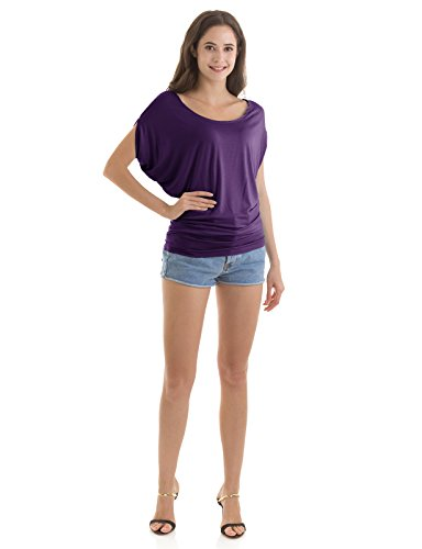 H2H Womens Short Cap Sleeve Organic T Shirt Crew Neck Top Purple US M/Asia M (CWTTS0115)