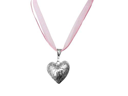 Trachtenschmuck Rosa Kette Halskette Trachtenkette Organza Herz mit Edelweiss Anhänger Trachten Schmuck zum Dirndl Oktoberfest Wiesn