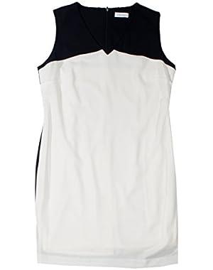 Calvin Klein Ivory Colorblock V Neck Dress