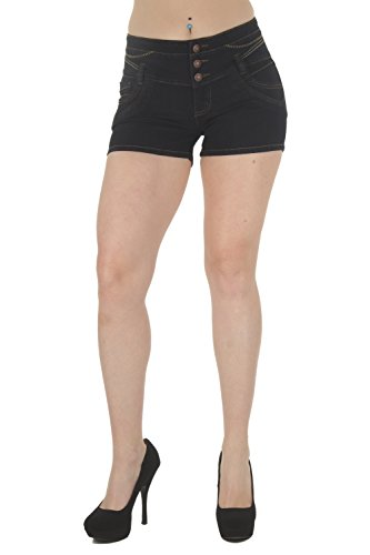 G536SH-P - Plus Size, Butt Lifting, Levanta Cola, High Waist Denim Shorts in Black Size 20