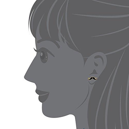 Plaqué or 14 carats-Émail-Noir-Moustache poste de sécurité pour enfant, adolescent et Boucles d'oreilles pour femme