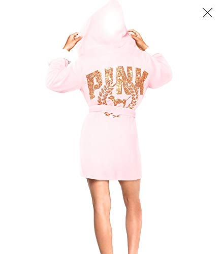 Victoria's Secret Pink New Sherpa Lined Robe Pink with Gold Sequins XS/Small