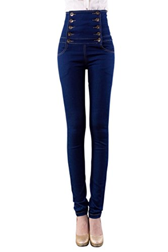 Women's High-Waisted Back Skinny Jeans Pencil Pants Double-breasted - 2XL