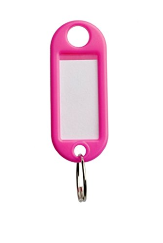 Bulk Hardware BH02743 Key Ring Tag - Fluorescent/Pink - Pack of 20