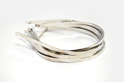 "Silver Colored Metal Headband - 1/6"" (4mm) - 12 pk"