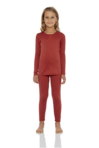 Rocky Girl's Smooth Knit Thermal Underwear 2PC Set Long John Top and Bottom Pajamas (Rust, S)