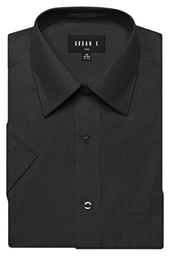 Big And Tall Formal Wear (URBAN K Men's Classic Fit Solid Formal Collar Short Sleeve Dress Shirts Regular and Plus Size black 3XL / 19-19.5 N)
