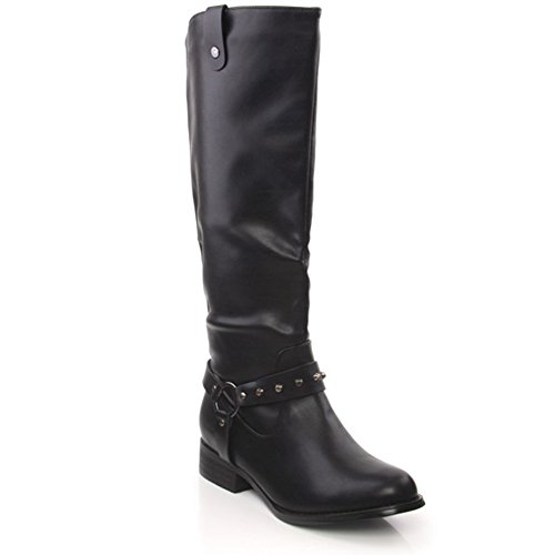Unze 'Lise' Womens Polished Buckled Knee High Ladies Riding Shoes Boots - F50092