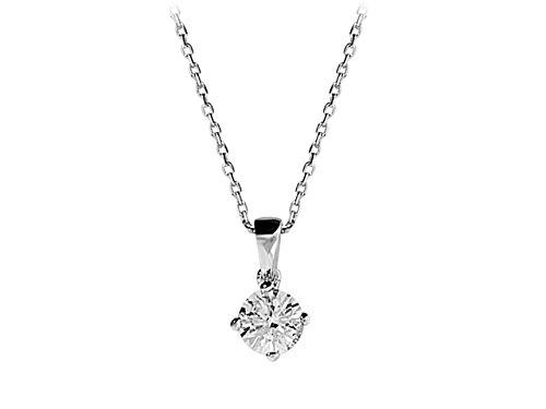 Birgie Diamants et Bijoux -Pendentif Solitaire 0.23 Carat-Femme- or Blanc 201P0101