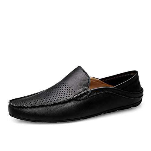 Italian Men Shoes Casual Luxury Brand Summer Mens Loafers Genuine Leather Moccasins,Summer Black,12