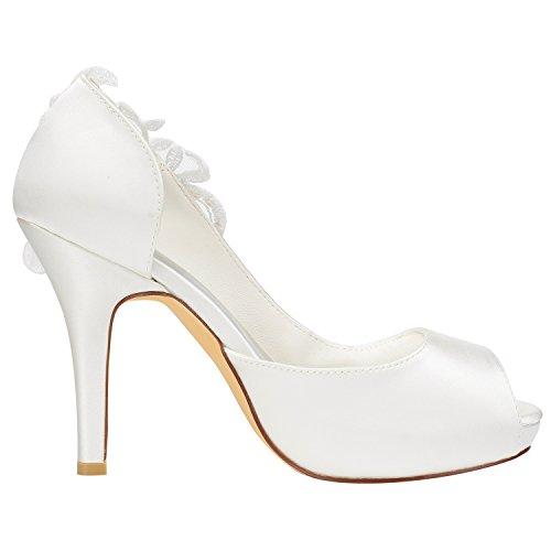 on Peep Alto Toe di Sposa EU40 Emily Avorio Seta Tacco Slip Pumps da Detail Scarpe Bridal wqBwHf7a