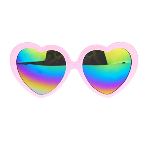 Diva Womens Mirrored Color Mirror Lens Plastic Heart Shape Sunglasses (Pink)