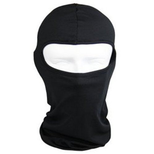 QueenTek Motorcycle Cycling lycra Balaclava Full Face Mask For Sun UV Protection - Black ()