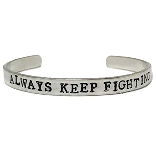 Always Keep Fighting Hand Stamped Supernatural Cuff Bracelet