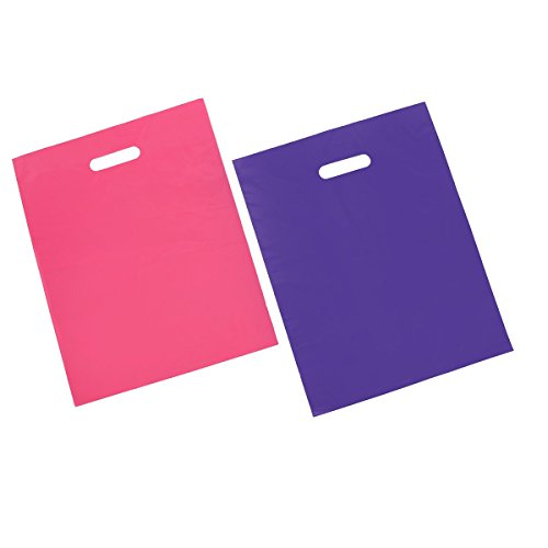 - 100 12x15 Glossy Pink and Purple Plastic Merchandise Bags w/Handles