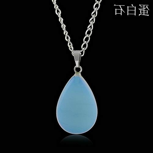 (Hebel New Natural Quartz Stone Crystal Chakra Point Healing Waterdrop Pendant Necklace | Model NCKLCS - 33006 |)