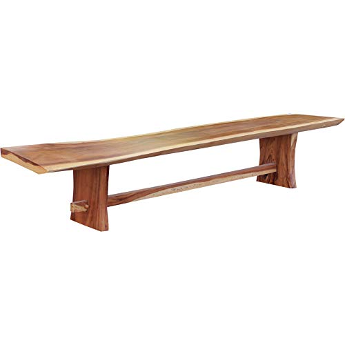 CHIC TEAK Suar Live Edge Slab Backless Bench Approximately 98″ Long