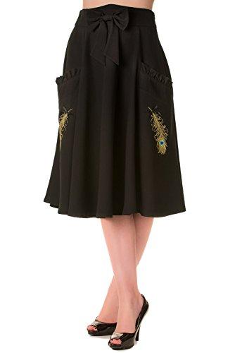 Banned-Peacock-Vintage-Tea-Length-Skirt-Black-or-Green