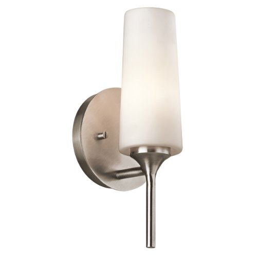 Kichler  42810CLP Kinsley 1-Light Wall Sconce, Classic Pewter Finish with Opal Etched Glass