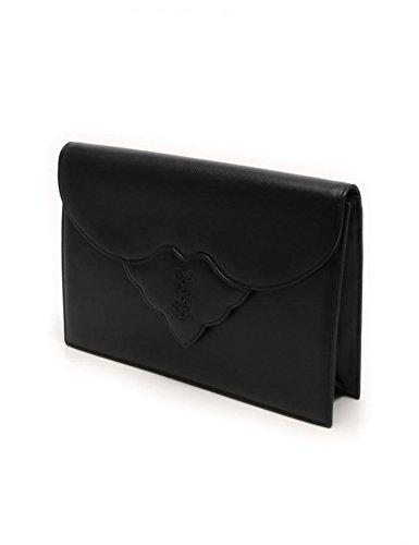 (イヴサンローラン) YVES SAINT LAURENT ロゴ刻印 クラッチバッグ セカンドバッグ PVC ブラック フラップ開閉 中古 B0721DL5JR