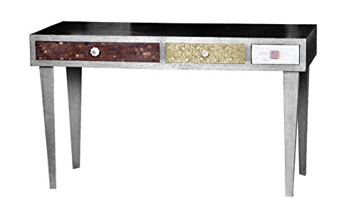Excl. Baidani Designer Tisch JAIPUR 140x70cm Mangoholz silber