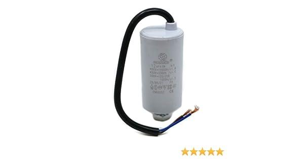 Condensador universal de motor Mondo Start/RUN de 12 μF, con cable ...