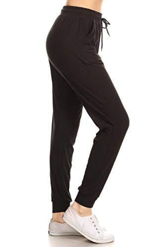 Leggings Depot JGA128-BLACK-L Solid Jogger Track Pants w/Pockets, Large (Best Track Pants For Women)