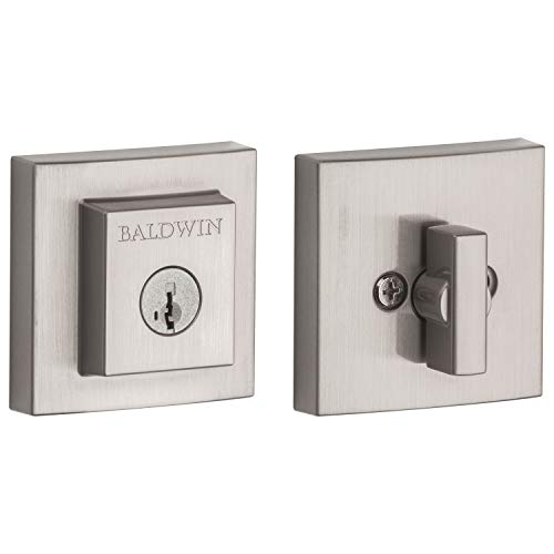 Baldwin Prestige 380 Square Single Cylinder Deadbolt Featuring SmartKey in Satin Nickel