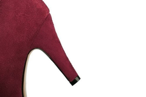 VogueZone009 Womans Closed Round Toe High Heel Spikes Stilettos Tommy Hilfiger Frosted Solid Pumps with Bows, Claret, 3 UK