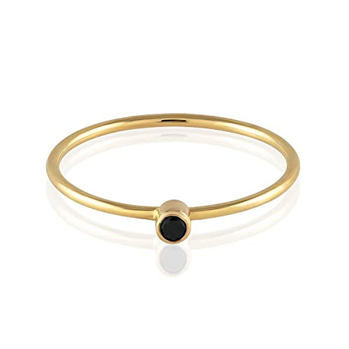 TousiAttar Black Diamond Ring - Solitaire Stackable Thin Rings for Women and Girls - Round Cut Genuine Diamonds on Tiny 14k Real Gold Band - Small Promise Jewelry - Size 4 to 10 -